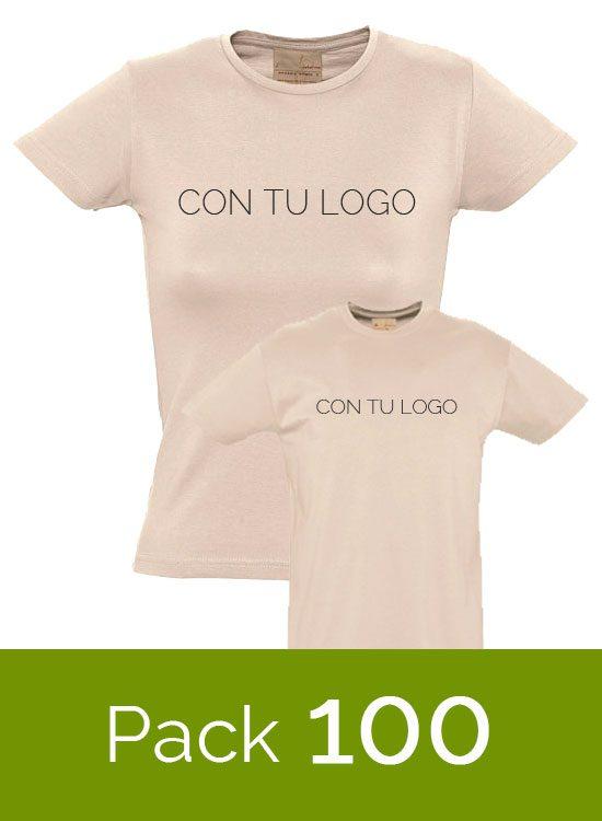 Lote de 100 Camisetas orgánicas con tu logo a 1 color – Camisetas ... 96bdf0823ef4e