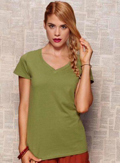 camiseta-algodón-orgánico-mujer-cuello-V | camisetasecologicas.es